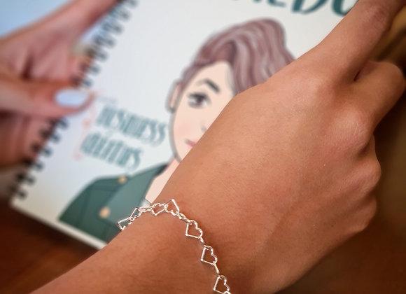 Bracelet argent 925 - mailles coeurs