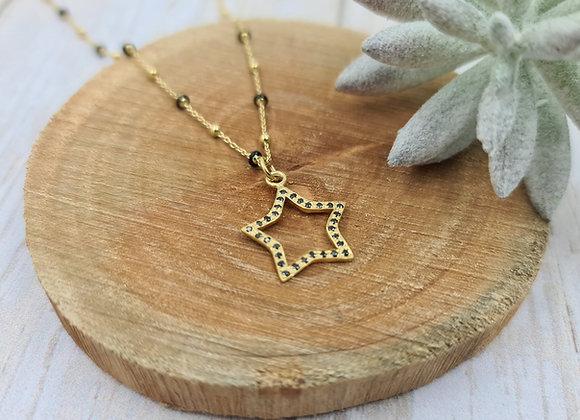 Collier court gold-filled perles noires - pendentif étoile et zircons noirs