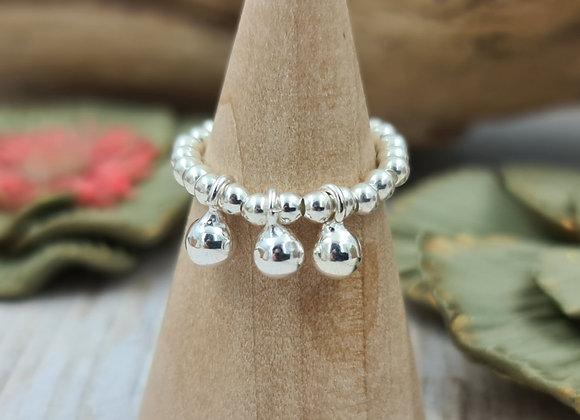 Bague argent 925 - perles 2,5mm et 3 petites perles tombantes