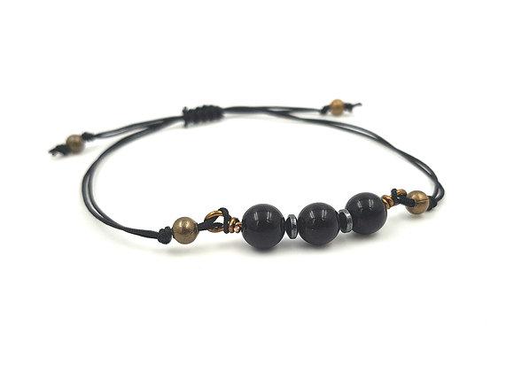 Bracelet cordon réglable et perles d'Onyx