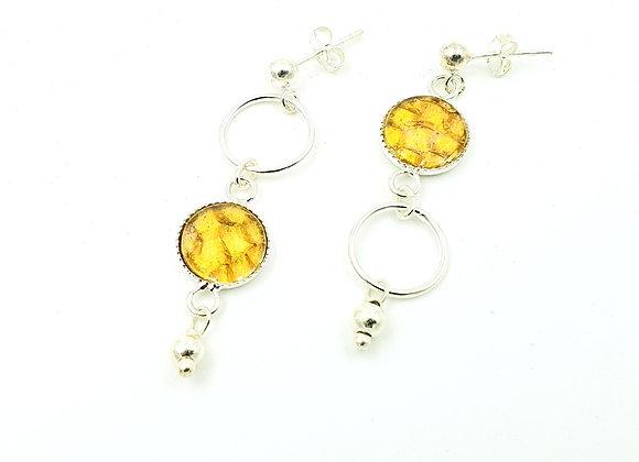 Boucles d'oreilles inversées - cuir de saumon jaune