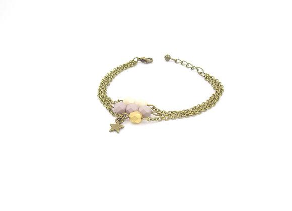 Estrella  - bracelet triple chaîne gris rosé