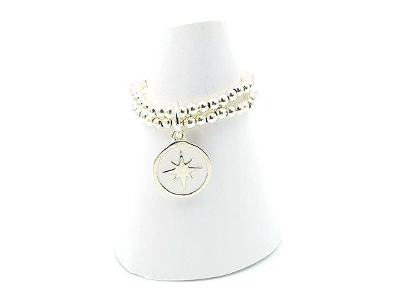 Bague argent 925 double rang et pendentif émail étoile polaire