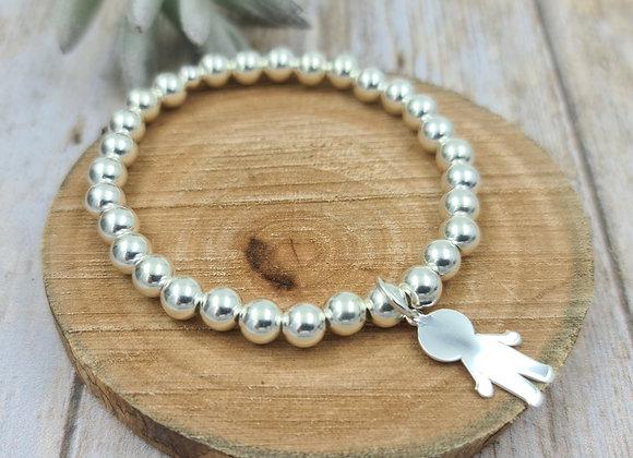 Bracelet argent 925 - perles 6mm -  petit garçon