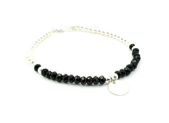 bracelet  argent 925 et rondelles facettées d'Onyx - pendentif rond