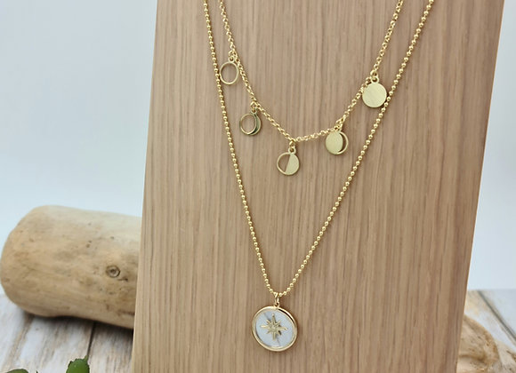 Collier double rang gold filled - phases de la lune