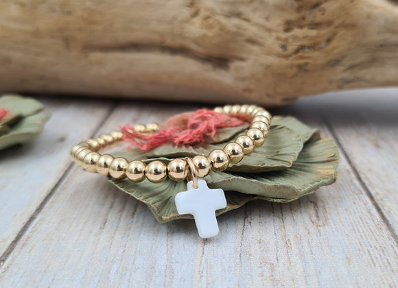 Bracelet gold-filled perles 5mm pendentif nacre croix