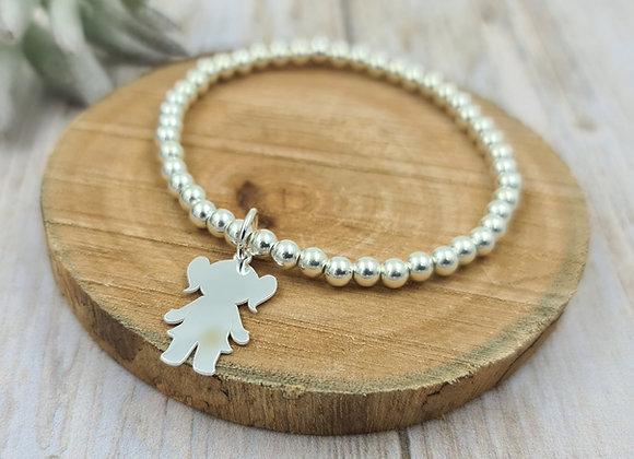 Bracelet argent 925 - perles 4mm -  petite fille