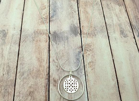 Collier argent 925 - pendentif ajouré fleurs