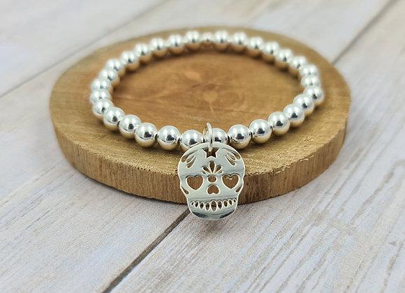 Bracelet argent 925 - perles 6mm pendentif Tête de mort