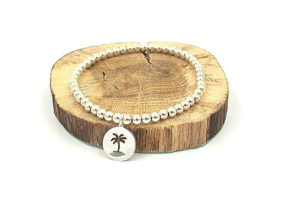 Bracelet argent - Perles 4mm - pendentif palmier