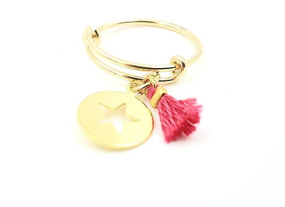 Bague jonc réglable - pendentif étoile et pompon rose