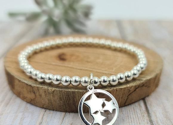 Bracelet argent - Perles 4mm - pendentif étoiles