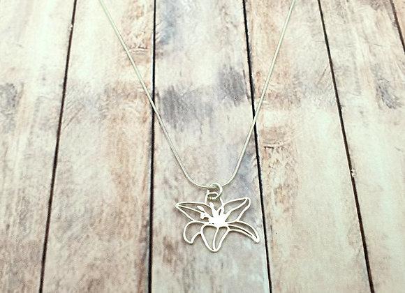Collier argent 925 - pendentif fleur d'hibiscus