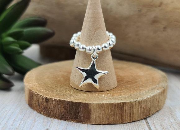 Bague argent 925 - pendentif étoile pointue  bombée