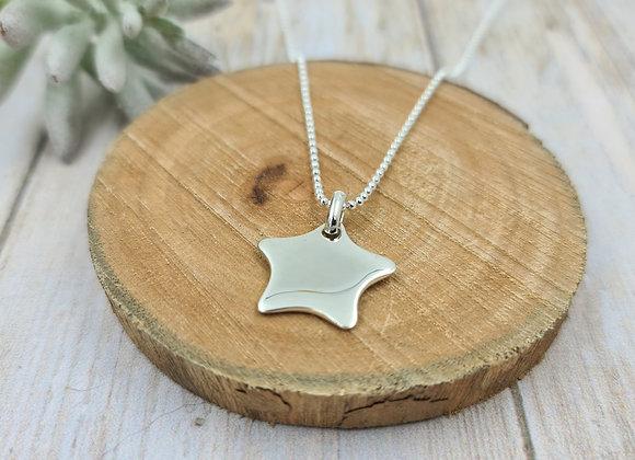 Collier court argent 925 - Chaîne bille - pendentif étoile bombée