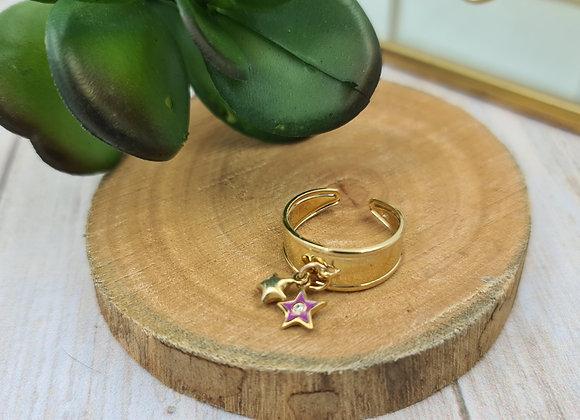 Bague réglable - pendentif étoile émaillée fushia