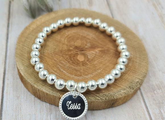 Bracelet argent 925 - perles 6mm - médaille décorée 15mm