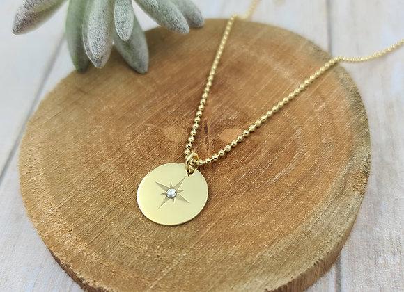 Collier court gold-filled pendentif étoile polaire et zircon