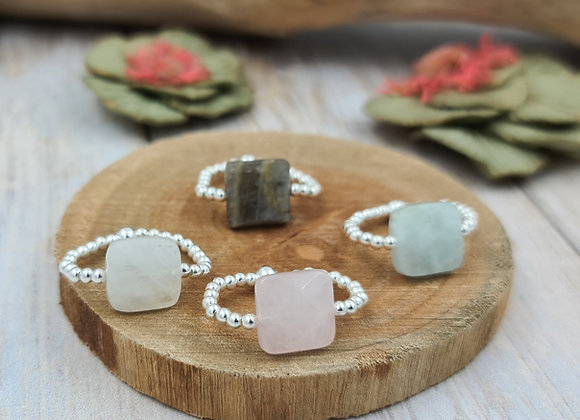 Bague argent 925  - perles 2,5mm - pierre fine facettée