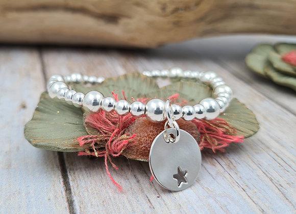 Bracelet argent 925 - perles 4mm et 6mm pendentif au choix