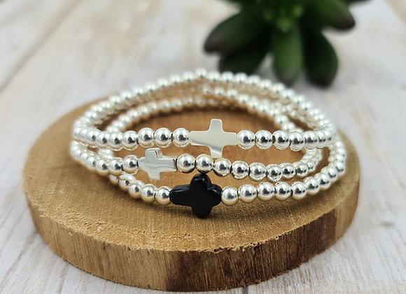 Bracelet argent - Perles 4mm - intercalaire croix argent - onyx  ou nacre