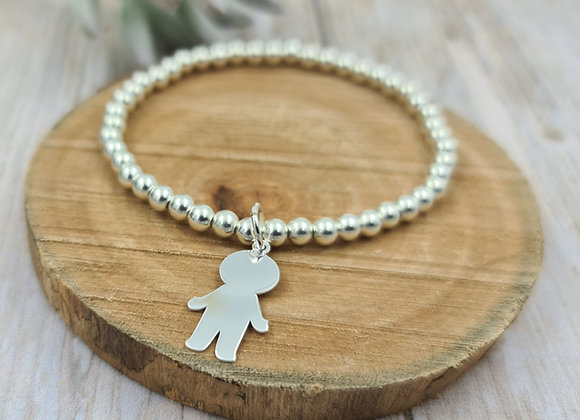 Bracelet argent 925 - perles 4mm -  petit garçon