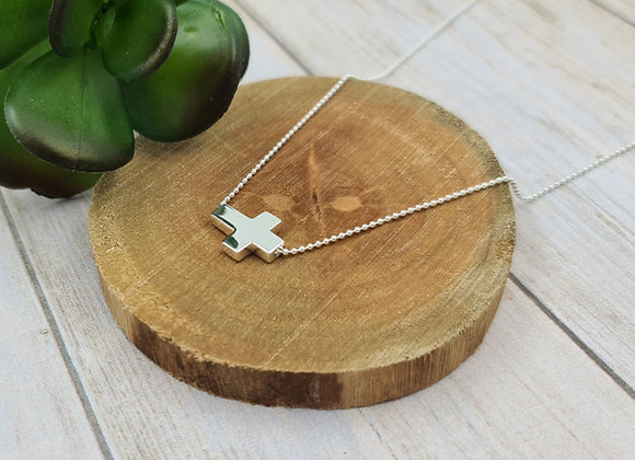 Collier court argent 925 intercalaire grande croix