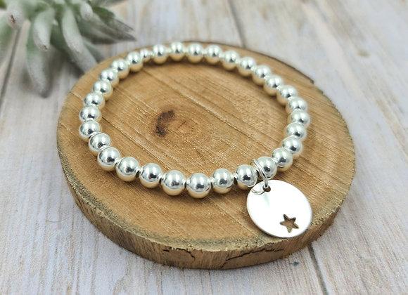 Bracelet argent 925 - perles 6mm -  étoile décalée 15mm