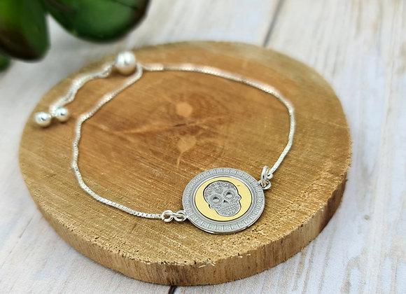 Bracelet chaîne fine argent 925 - cordon coulissant - intercalaire tête de mort
