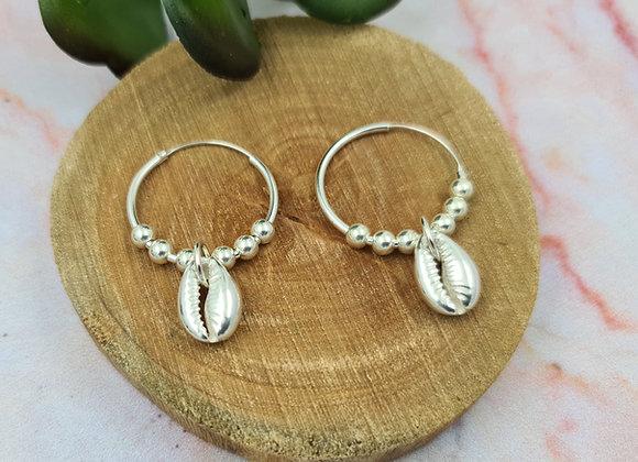 Boucles créoles argent 925 - pendentif coquillage