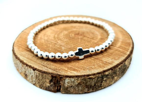 Bracelet argent - Perles 4mm - intercalaire croix