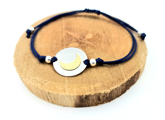 Bracelet cordon  - intercalaire bicolore motif lune en argent