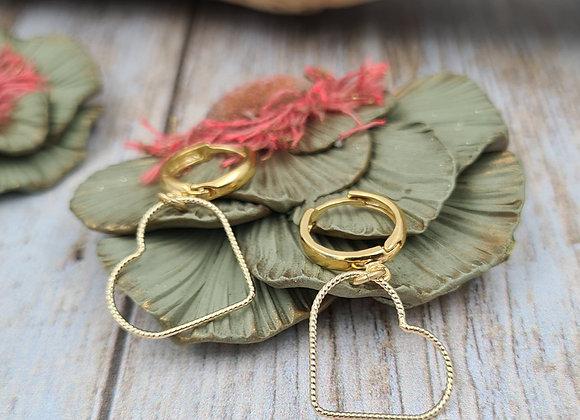 Boucles dormeuses rondes gold-filled Pendentif CŒUR petit modèle
