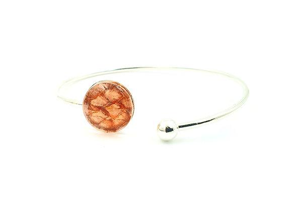 Bracelet jonc flexible argent 925 et cuir de saumon orange