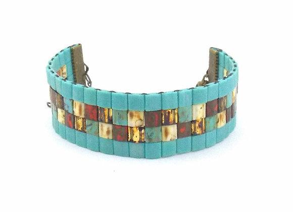 TYLA #2 - bracelet souple perles tissées turquoises et marbrées