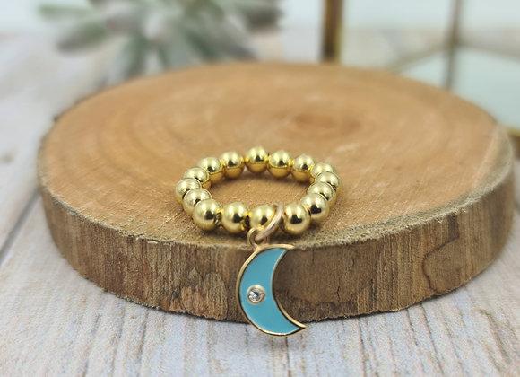 Bague gold filled 1 rang (4mm) - pendentif lune émaillée turquoise