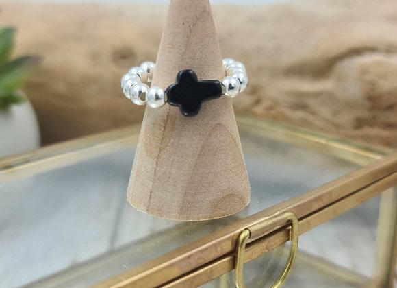 Bague argent 925 - intercalaire croix onyx