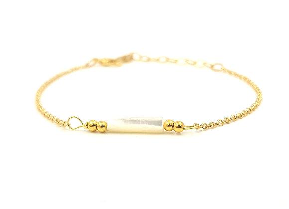 CALI nacre -  Bracelet gold filled et perle cylindrique de Nacre