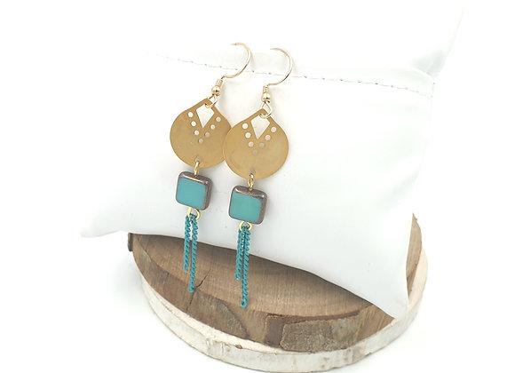 SHANI - Boucles gold filled et perle en verre de bohème turquoise