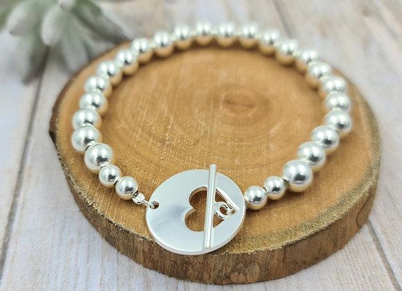 Bracelet argent 925 - perles 7mm - fermoir T coeur