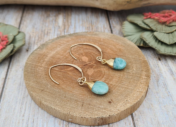 Collection GALATEE : les crochets ovales et pendentifs AMAZONITE