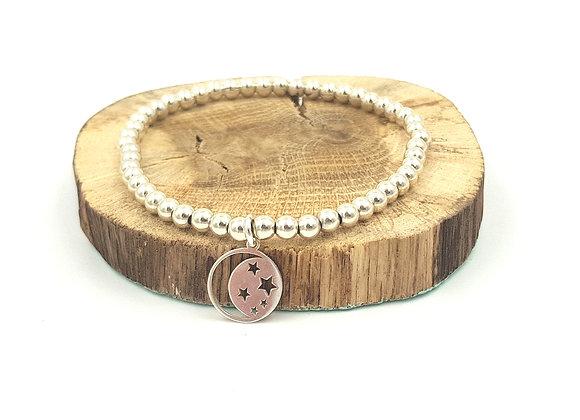 Bracelet argent - Perles 4mm - pendentif étoiles et Lune