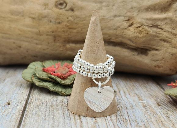 Bague argent 925 triple rang de perles 2,5mm- pendentif coeur plat