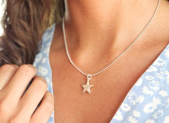 Collier court en argent 925 - pendentif étoile bombée