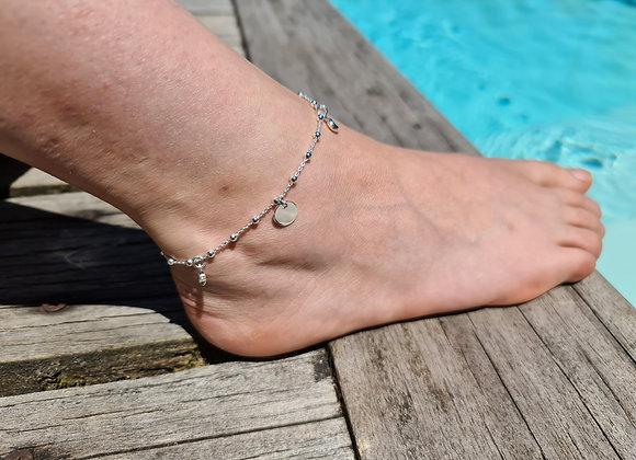 Chaîne de cheville argent 925 - pendentifs lune et étoile