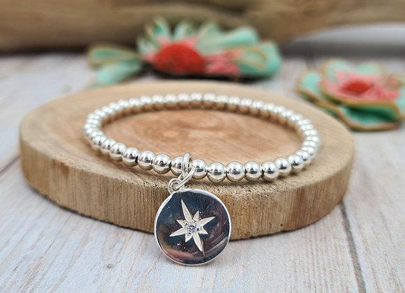 Bracelet argent - Perles 4mm - pendentif étoile polaire et petit zircon