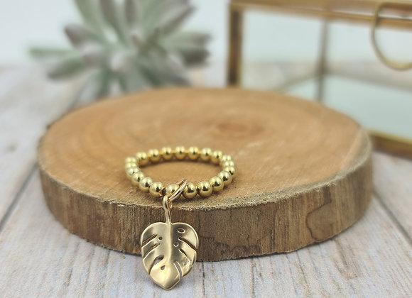 Bague gold filled 1 rang (3mm) - pendentif feuille monstera