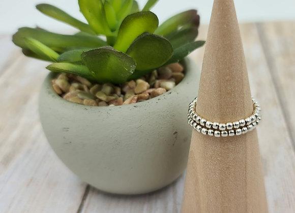Bague double rang perles en argent 925 2mm à personnaliser