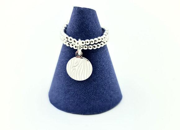 Bague double argent 925 - pendentif motif zèbre